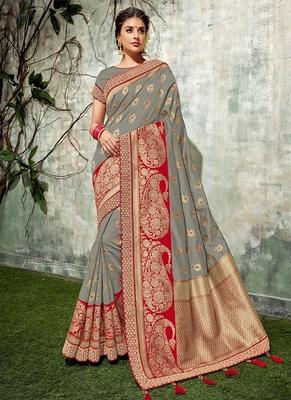 6afe4198421f0e Grey woven art silk saree with blouse - Monjolika - 2769012