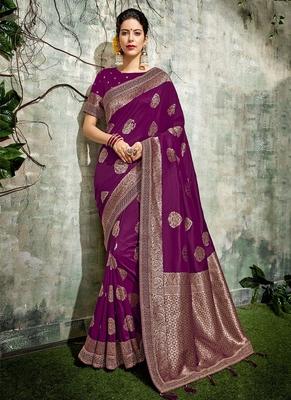 c2d08121171bd6 Dark purple woven art silk saree with blouse - Monjolika - 2769024