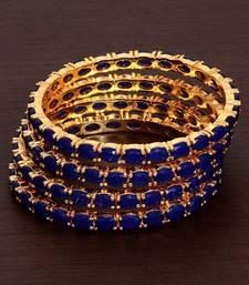 Gold Plated Blue Stone Embellished Designer Bangles for Women