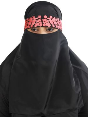 MyBatua black Alishba Black Crepe Embroidered Niqab