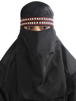 MyBatua black Yumn Black Crepe Embroidered Niqab