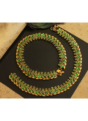 BEAUTIFUL GOLD PLATED GREEN MANGO DESIGNER ANKLETS DJ20077