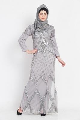 Nazneen Full Embellished Grey Party Abaya