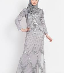 Nazneen Full Embellished Grey Party Abaya