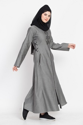 Nazneen Front Open With Zip Denim Abaya