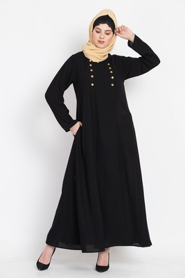 Nazneen Pleat And Decerative Button Abaya