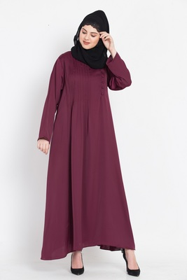 Nazneen Pin tuck side placket Abaya