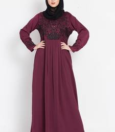 Nazneen Hand Embroidered Wine Party Abaya