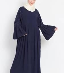 Nazneen  Pleated and pearls  Front open Abaya