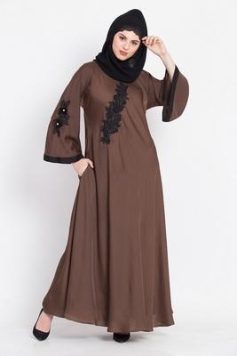 Nazneen Embroidered Patch Umbrella Abaya