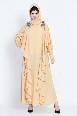Nazneen Front Long Frill Flowers Party Abaya