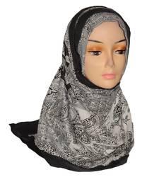 Buy Grey Floral Print viscose Hijab hijab online