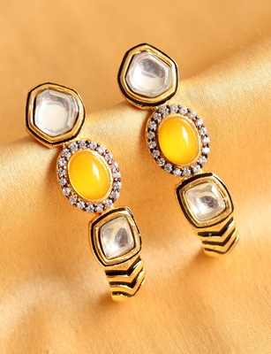Gorgeous Designer Yellow White Earrings