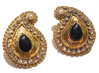 Golden Black kundan tops earring
