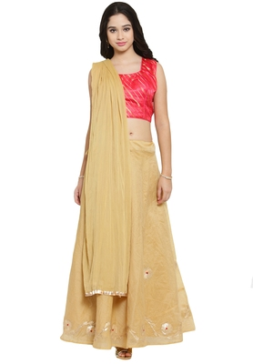Coral Pink And Gold Chanderi Silk Stitched Lehenga Choli With Dupatta