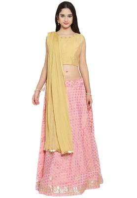 Gold and pink banarasi silk stitched lehenga choli with dupatta