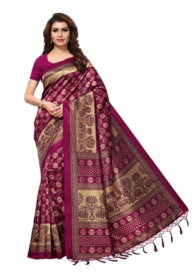 Magenta and beige mysore silk with jhalor printed saree with blouse