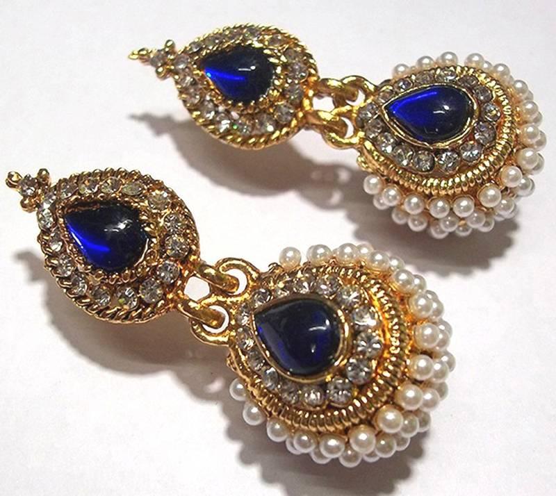 Dark Blue Pearl Jhumka Earring
