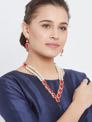 Zerokaata Long Pearl Necklace Set With Beautiful Red Square Stones