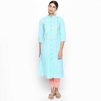 Blue cotton slub kurtas and kurtis