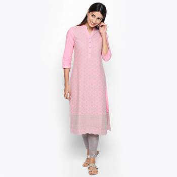 Pink cotton slub kurtas and kurtis