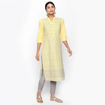 Yellow cotton slub kurtas and kurtis