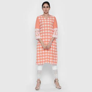 Orange rayon kurtas and kurtis