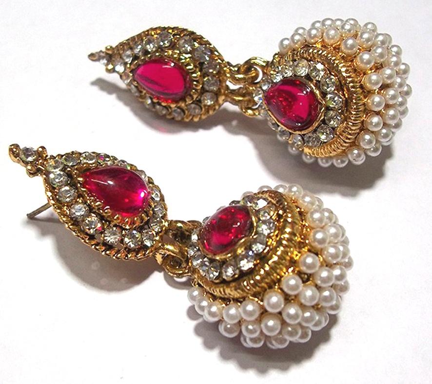 buy pink pearl jhumka earring online