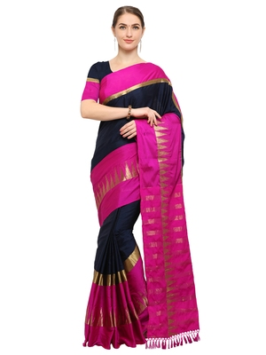 Navy Blue & Magenta Woven Cotton Blend Saree With Blouse