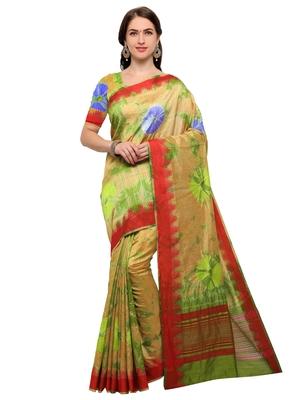 Beige & Green Woven Silk Blend Saree With Blouse