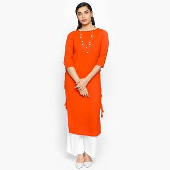 Orange russian moss crepe kurtas and kurtis