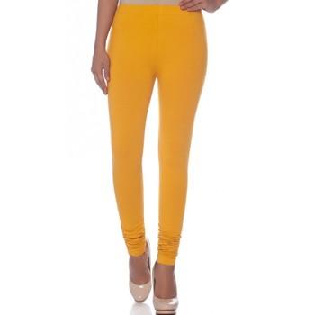 Yellow Cotton Ethnic Wear Churidar Leggings For Women'S