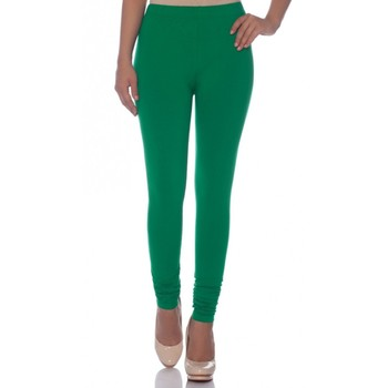 Green Cotton Ethnic Wear Churidar Leggings For Women'S