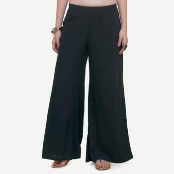 Black Rayon palazzo pants