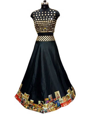 Black printed taffeta silk lahenga with black taffeta blouse