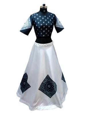 Black printed taffeta silk lahenga with black taffeta blouse