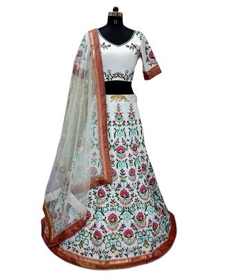 White worked taffeta silk lahenga choli with blouse