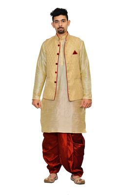 Gold plain art silk dhoti-kurta