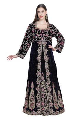 Black embroidered georgette moroccan islamic kaftans