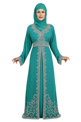 Phirozy embroidered georgette moroccan islamic kaftans
