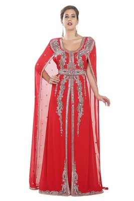 Red embroidered georgette moroccan islamic kaftans