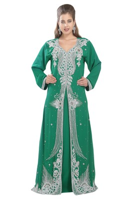 Rama green embroidered georgette moroccan islamic kaftans