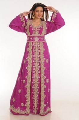 Magenta embroidered georgette moroccan islamic kaftans