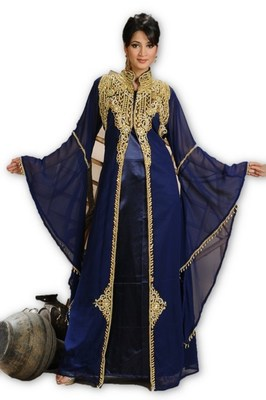 Navy blue embroidered georgette moroccan islamic kaftans