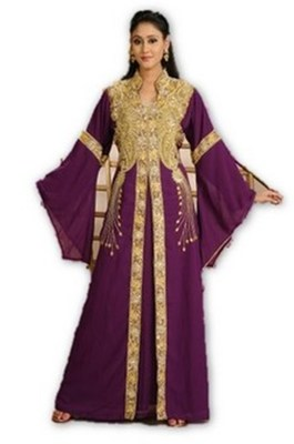 Wine embroidered georgette moroccan islamic kaftans