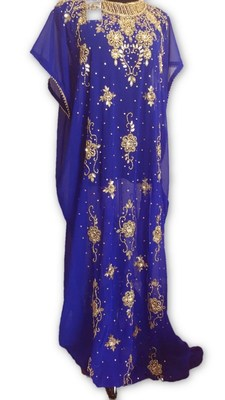 Royal blue embroidered georgette moroccan islamic kaftans