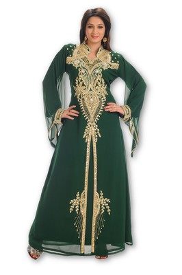 Bottle green embroidered georgette moroccan islamic kaftans