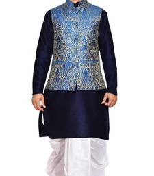 Blue woven art silk dhoti-kurta