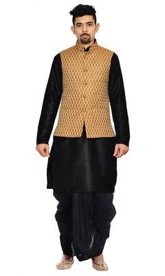 Black Woven Art Silk Dhoti Kurta