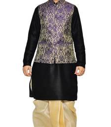 Black woven art silk dhoti-kurta